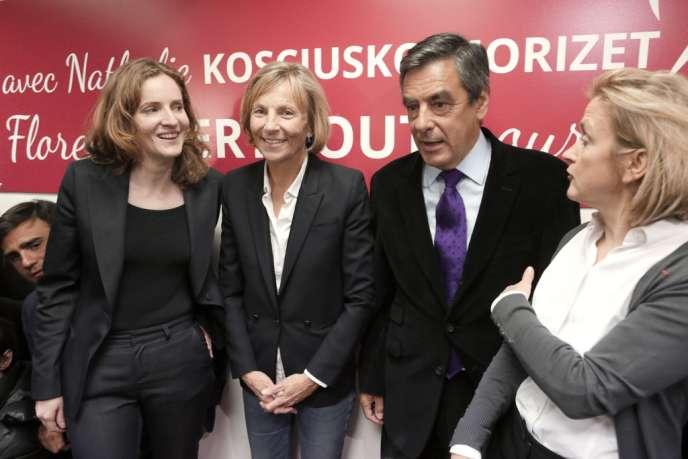 Nathalie Kosciusko-Morizet, François Fillon et Marielle de Sarnez ont inauguré la permanence de Florence Berthout, candidate investie par l'UMP dans le 5e arrondissement de Paris, lundi 6 janvier.