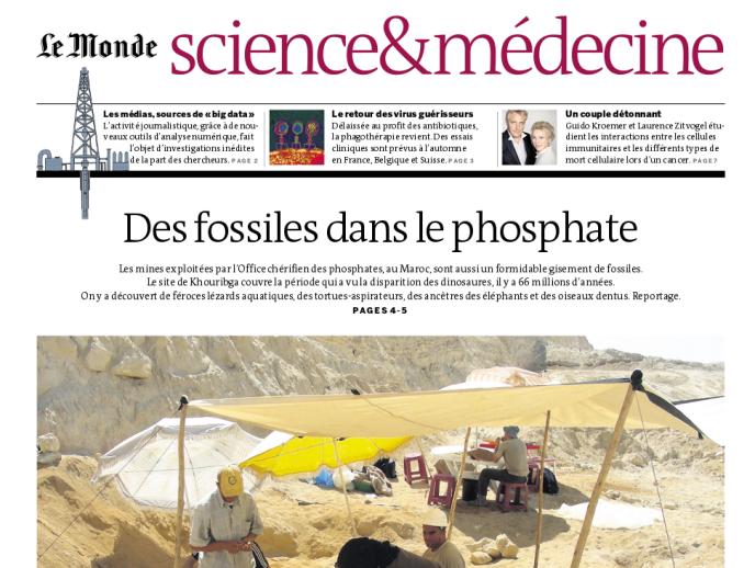 La Une du cahier Science&Médecine du 8 janvier.