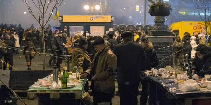 Sur la place de l'Indépendance, à Kiev, le 1er janvier.