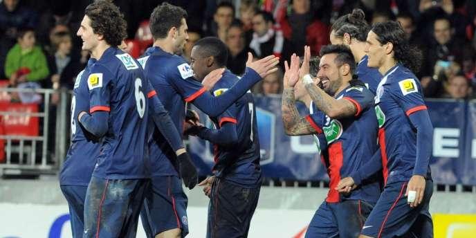 Les joueurs du PSG en janvier 2014 lors d'un match de Coupe de France à Brest.