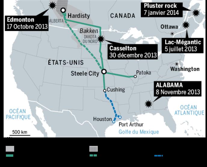 Cinq accidents de convois ferroviaires transportant du pétrole en Amérique du Nord, depuis juillet 2013.