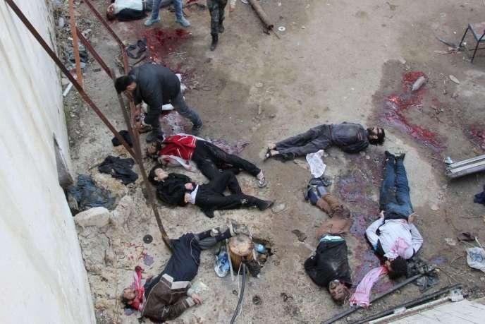 Des prisonniers exécutés dans l'un des hôpitaux d'Alep, en Syrie, par des djihadistes de l'Etat islamique en Irak et au Levant (EIIL), mercredi 8 janvier 2014.