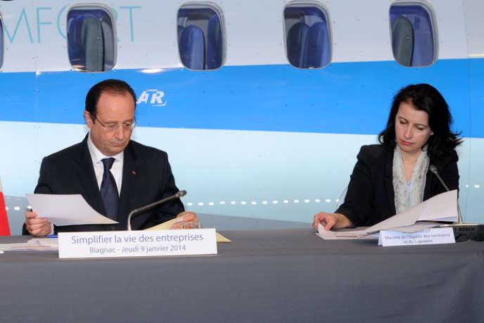 François Hollande et Cécile Duflot, à Blagnac (Haute-Garonne), le 9 janvier.