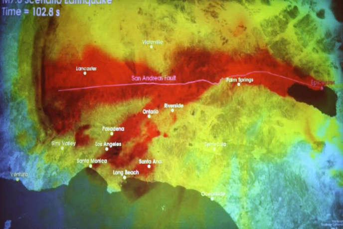 Simulation d'un tremblement de terre de magnitude 7,8 dans la région de Los Angeles.