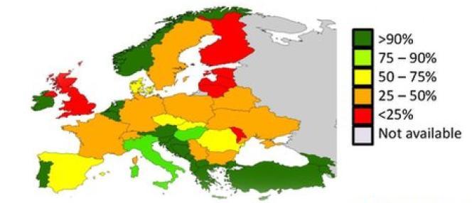 Stock d'abeilles nécessaires à la pollinisation par pays en 2010.