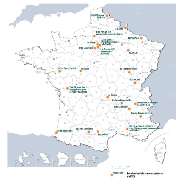 Carte de France des Pôles territoriaux de coopération économique.