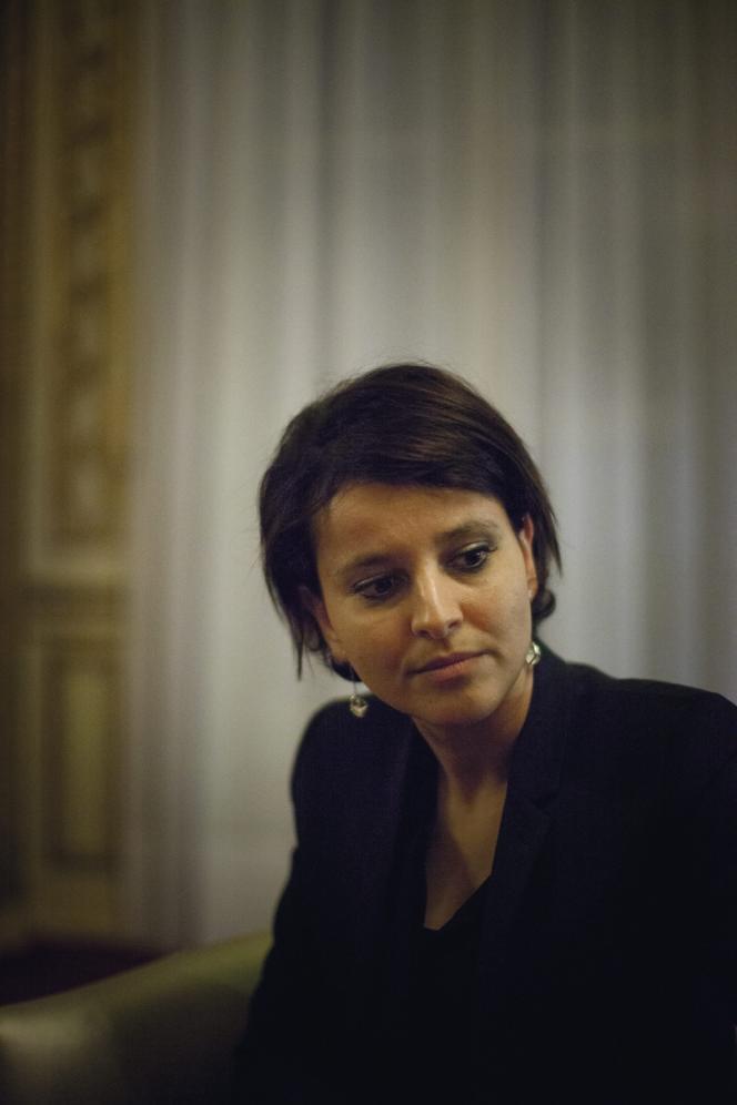 Najat Vallaud-Belkacem, au ministère des droits des femmes, le 13 décembre 2013.