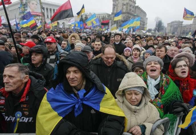 Manifestation de partisans de l'UE, dimanche 12 janvier, à Kiev.