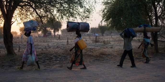 Des Sud-Soudanais fuient les combats près de la ville de Bor, le 10 janvier 2014.