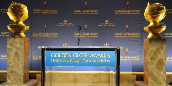 La scène où se déroulera la 71e cérémonie des Golden Globes, à Los Angeles.