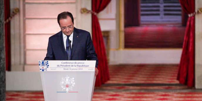 François Hollande pendant sa troisième grande conférence de presse au Palais de l'Elysée à Paris, mardi 14 janvier 2014.