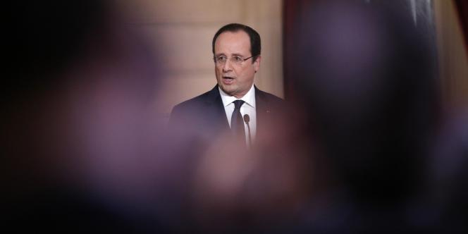 Le président François Hollande pendant sa conférence de presse mardi 14 janvier.
