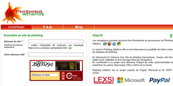 Page d'accueil du site de contrôle Phishing initiative.