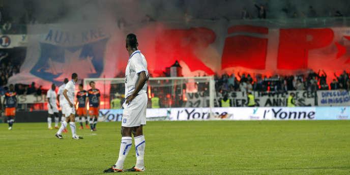 Soir de match entre Auxerre et Montpellier au stade de l'Abbe Deschamps en mai 2012.