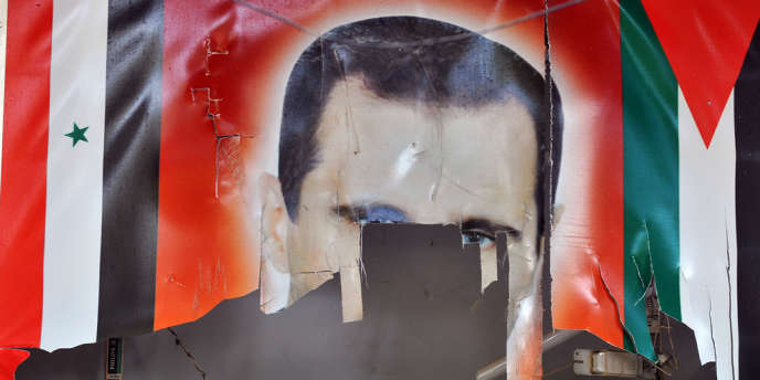 Une bannière représentant Bachar Al-Assad.