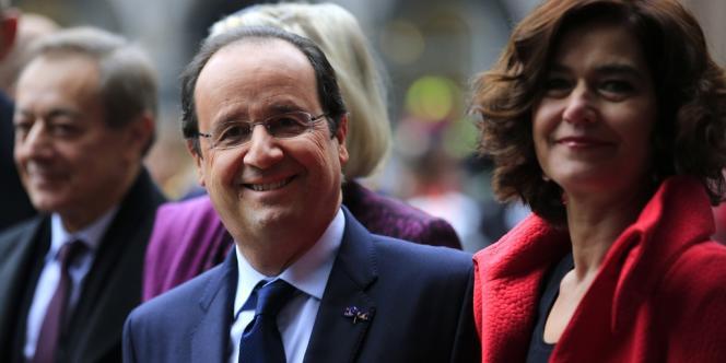 François Hollande et Anouchka Van Miltenburg, présidente du Parlement néerlandais, le 20janvier à La Haye.