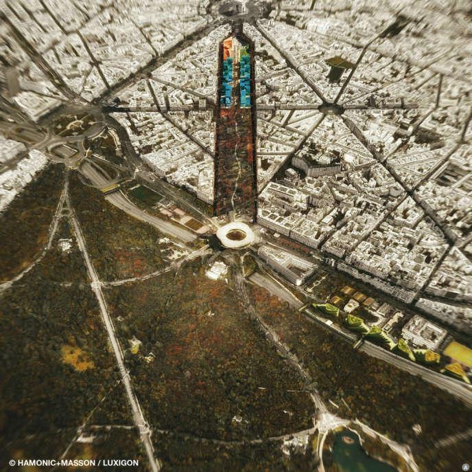 Photo aérienne du projet de l'avenue Foch.