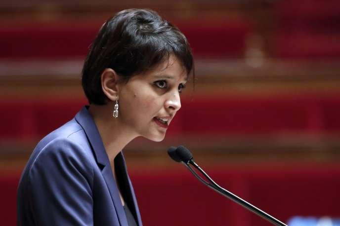 La ministre des droits des femmes, Najat Vallaud-Belkacem, à l'Assemblée nationale.