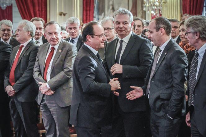 François Hollande, pendant ses voeux aux acteurs de l'entreprise et de l'emploi, au Palais de l'ElyséŽe, le 21 janvier.