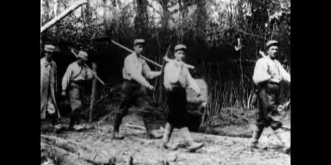 Des soldats terrassiers au Bois-le-Prêtre, massif forestier de Pont-à-Mousson (1915).