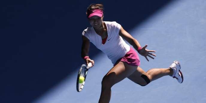 La Chinoise Li Na lors de sa victoire contre la Canadienne Eugenie Bouchard le 23 janvier à Melbourne, en Australie.