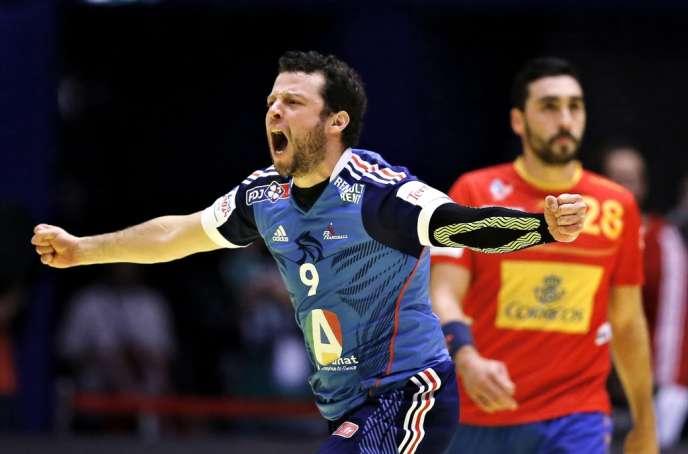 Le Français Guillaume Joli exulte après la qualification des Bleus pour la finale de l'Euro de handball, le 24 janvier au Danemark.