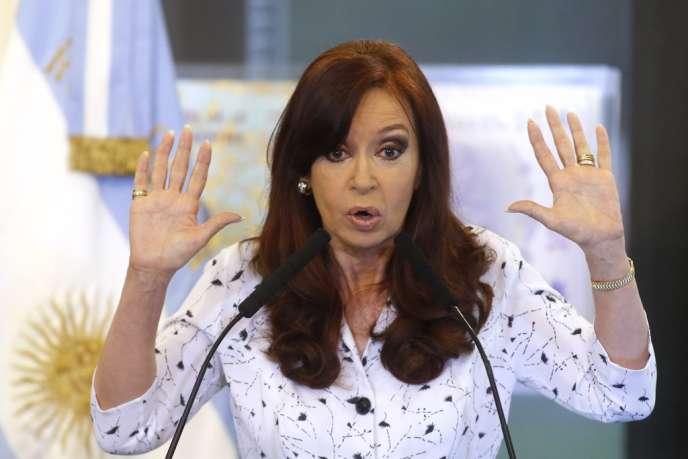 Cristina Kirchner, le 22 janvier à Buenos Aires, pour son premier discours de l'année.