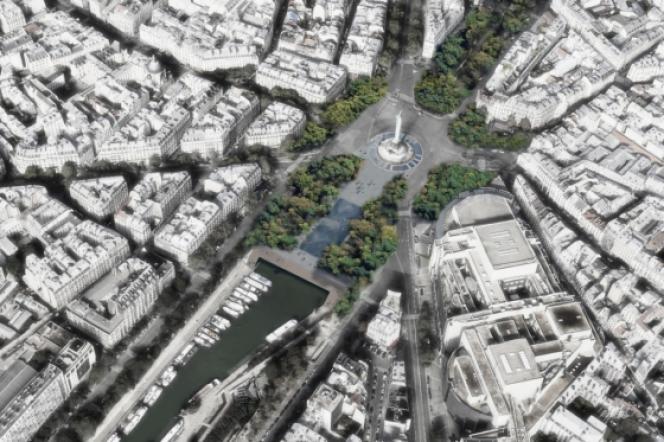 Vue aérienne de la place de la Bastille selon le projet d'Anne Hidalgo.