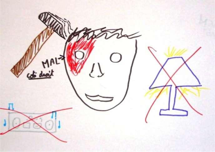 Dessin d'enfant migraineux extrait de l'ouvrage