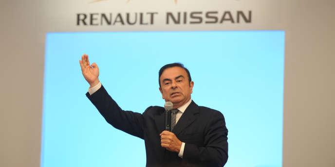 Carlos Ghosn, PDG de Renault et Nissan, lors d'une conférence à Chennai, le 16 juillet 2013.