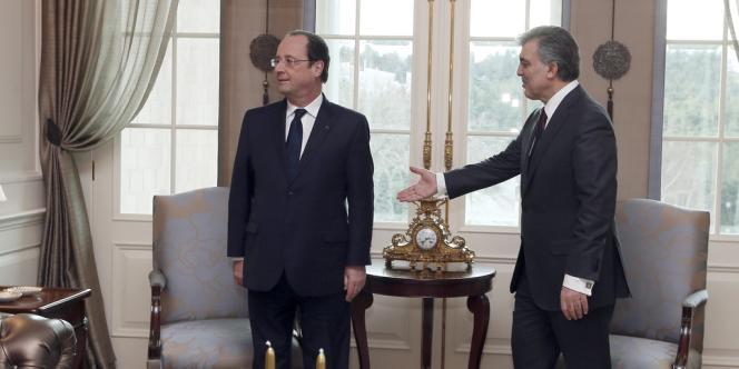 François Hollande et le président turc Abdullah Gül, le 27 janvier à Ankara.