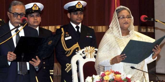 Le président bangladais Abdul Hamid avec la première ministre Sheikh Hasina de la Ligue Awami, à Dacca en 2013.