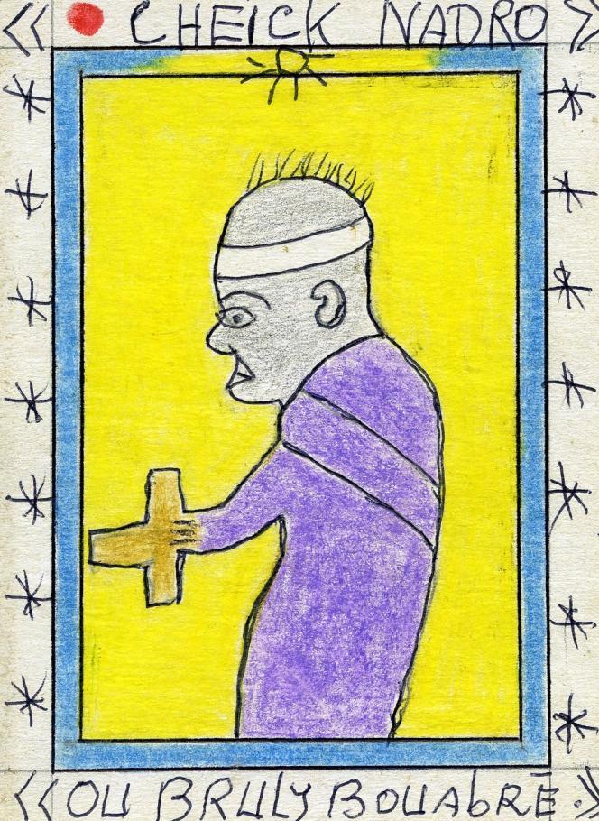 Frédéric Bruly Bouabré, « Cheikh Nadro ou Bruly Bouabré », 8 juillet 2009. Stylo bille, crayons de couleur sur carton, 15 x 11 cm.