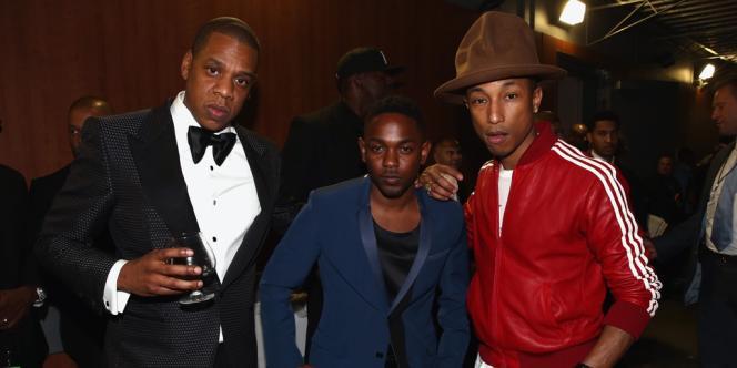 Jay Z, Kendrick Lamar et Pharrell Williams dans les coulisses des Grammy Awards, le 26 janvier (de gauche à droite).
