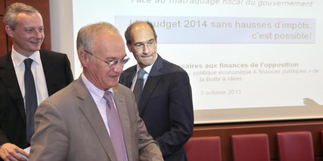 Gilles Carrez, président de la commission des finances et député du Val-de-Marne, et Eric Woerth, ancien ministre du budget et député de l'Oise, à l'Assemblée nationale, en octobre 2013.