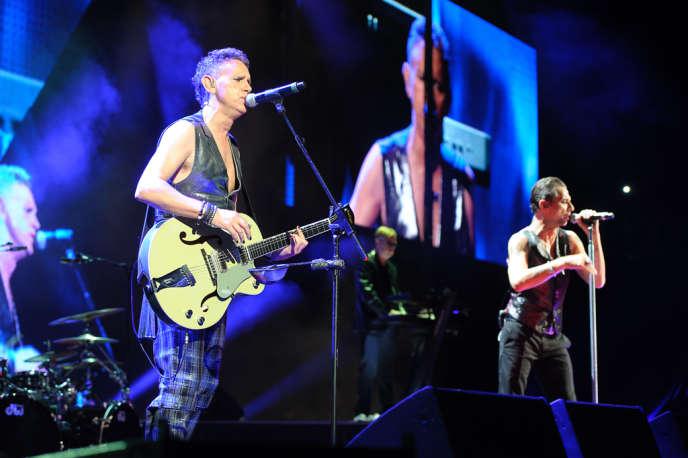 Martin Gore, Andrew Fletcher et Dave Gahan, du groupe Depeche Mode, en concert à New York, le 6 septembre 2013.