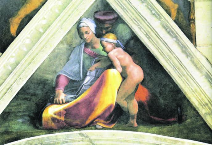 Femme découpant un vêtement : une allusion aux interdits qui pesaient sur les juifs dans la Rome de Michel-Ange.
