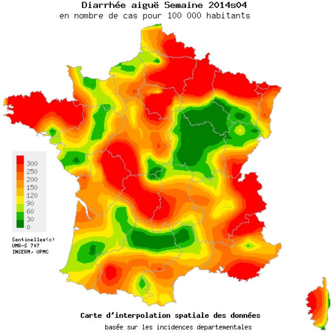 Episode de diarrhée aiguë enregistré en France, du 20 au 26 janvier 2014.