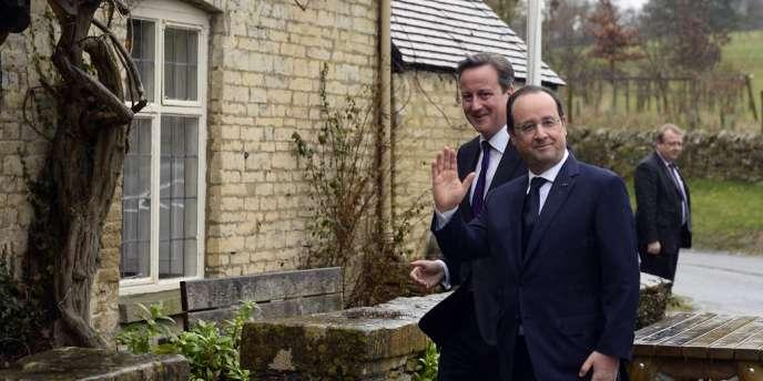 François Hollande et David Cameron, vendredi 31 janvier à Swinbrook, non loin de Brize Norton.
