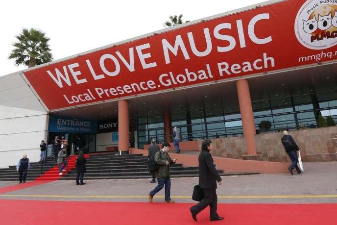 L'entrée du Marché international du disque et de l'édition musicale (Midem) au Palais des festivals à Cannes, le 1er février 2014.