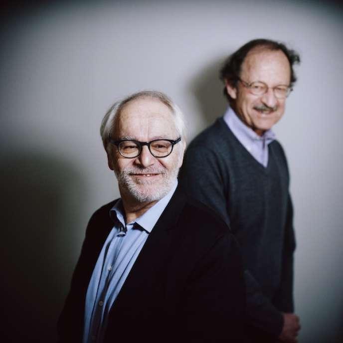 Les professeurs Fabien Calvo (à gauche) et Harold Warmus, à Paris en janvier.