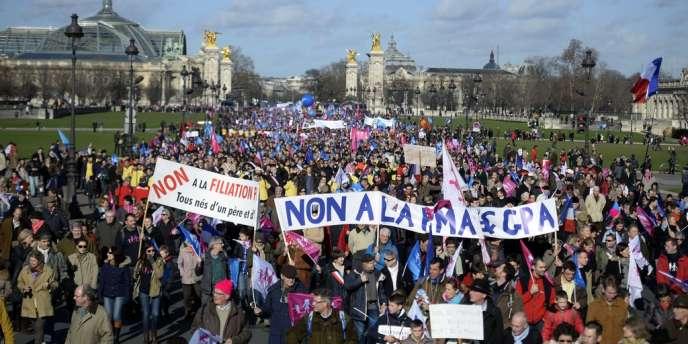 Lors du défilé de la Manif pour tous à Paris, le 2 février.