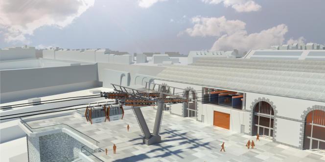 Le projet du téléphérique,  vue de la station rive droite de la Penfeld.
