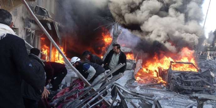 Bombardements meurtriers à Alep en Syrie, le1erfévrier2014.