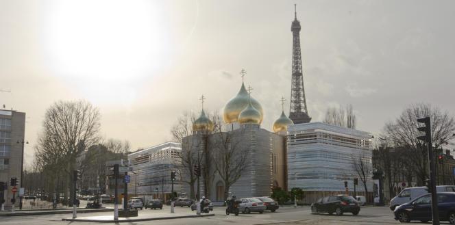 Le projet comprend un centre paroissial, une école bilingue, un centre culturel et une église coiffée de cinq bulbes dorés. Il est estimé à 100 millions d'euros. (Vue d'artiste).