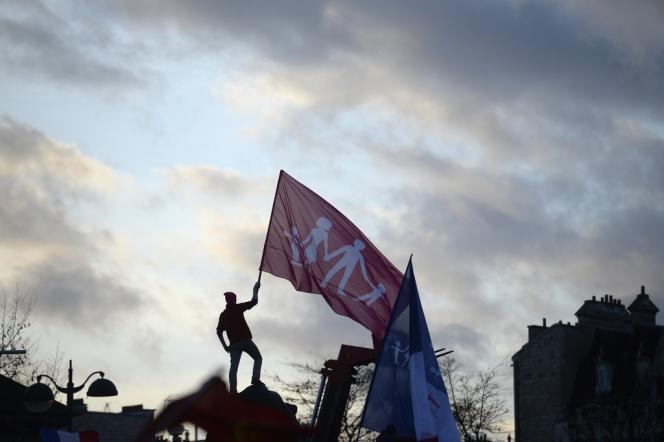 Dans le cortège de la «Manif pour tous», le 2 février à Paris.