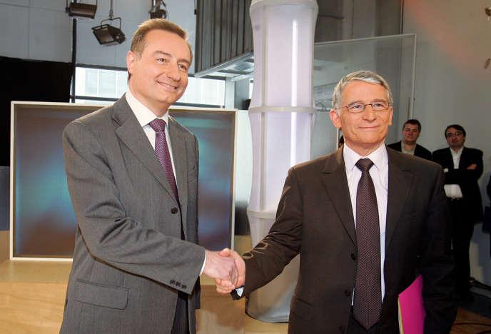 Jean-Luc Moudenc et Pierre Cohen avant un débat télévisé, le 13 mars 2008, trois jours avant le second tour de l'élection municipale remportée par M. Cohen.