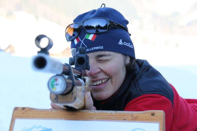 Sylvie Becaert, ancienne biathlète médaillée de bronze aux JO de Turin et Vancouver, au Grand-Bornand en décembre.