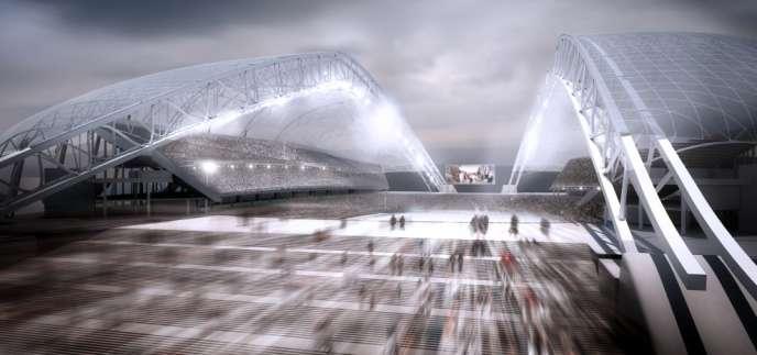 Vue d'artiste de l'entrée du stade olympique