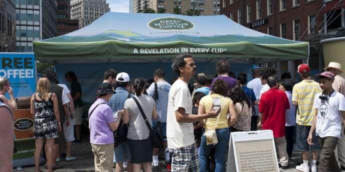 Stand faisant la promotion des produits Green Mountain, à New York, en 2011.